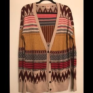 Mossimo Beige Multicolor Printed Cardigan size XL